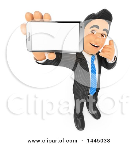 Clipart of a 3d Business Man Holding up a Cell Phone and Showing a Blank Screen While Gesturing to Call, on a White Background - Royalty Free Illustration by Texelart