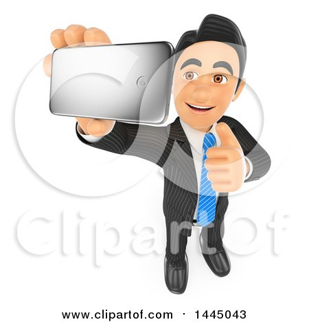 Clipart of a 3d Business Man Holding up a Thumb and Taking a Selfie with a Cell Phone, on a White Background - Royalty Free Illustration by Texelart