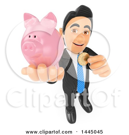 Clipart of a 3d Business Man Holding up a Coin and Piggy Bank, on a White Background - Royalty Free Illustration by Texelart