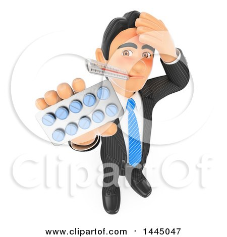Clipart of a 3d Sick Flushed Business Man with a Thermometer in His Mouth, Holding up a Pack of Pills, on a White Background - Royalty Free Illustration by Texelart