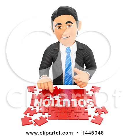 Clipart of a 3d Business Man Assembling a Solution Jigsaw Puzzle, on a White Background - Royalty Free Illustration by Texelart