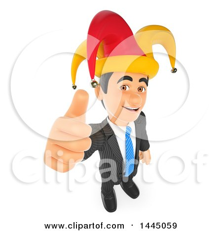 Clipart of a 3d Business Man Holding up a Thumb and Wearing an April Fools Jester Hat, on a White Background - Royalty Free Illustration by Texelart