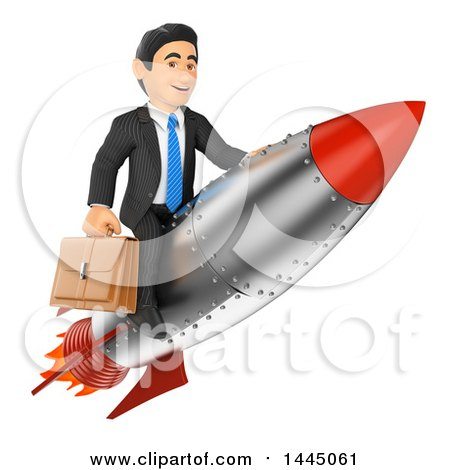 Clipart of a 3d Business Man Holding a Briefcase and Riding a Rocket, on a White Background - Royalty Free Illustration by Texelart