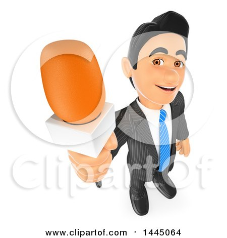 Clipart of a 3d Business Man or Reporter Holding up a Microphone, on a White Background - Royalty Free Illustration by Texelart
