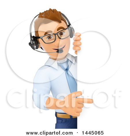 Clipart of a 3d Business Man or Call Center Worker Pointing Around a Sign, on a White Background - Royalty Free Illustration by Texelart