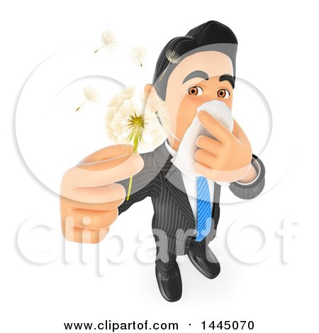 3d Business Man with Allergies, Holding a Dandelion Seed Head, on a White Background Posters, Art Prints