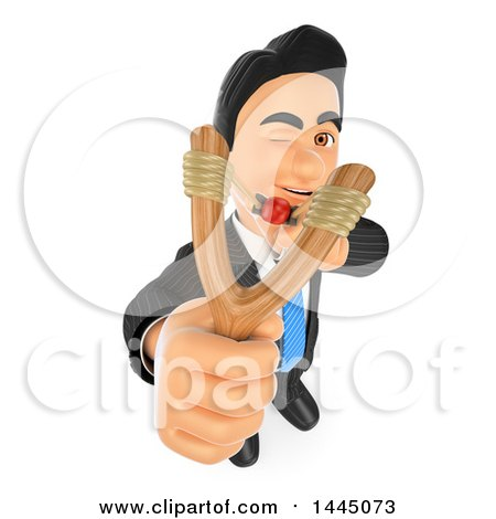 Clipart of a 3d Business Man Aiming a Slingshot, on a White Background - Royalty Free Illustration by Texelart