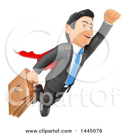 Clipart of a 3d Super Business Man Flying with a Briefcase, on a White Background - Royalty Free Illustration by Texelart