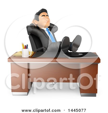 Clipart of a 3d Business Man Resting in His Office with His Feet up on a Desk, on a White Background - Royalty Free Illustration by Texelart