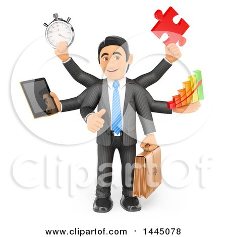 Clipart of a 3d Busy Multi Tasking Business Man Holding a Tablet, Stopwatch, Puzzle Piece, Bar Graph and Briefcase, on a White Background - Royalty Free Illustration by Texelart