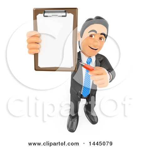 Clipart of a 3d Business Man Holding up a Contract on a Clipboard, on a White Background - Royalty Free Illustration by Texelart