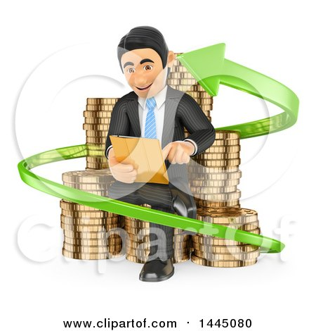 Clipart of a 3d Business Man Investor Sitting with a Tablet on Stacks of Coins in an Arrow, on a White Background - Royalty Free Illustration by Texelart