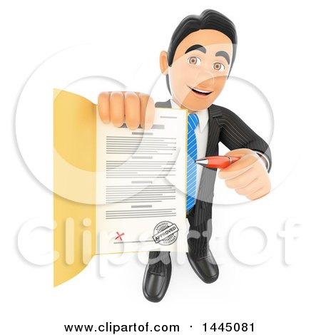 Clipart of a 3d Business Man Holding up a Loan Approval or Application Contract, on a White Background - Royalty Free Illustration by Texelart