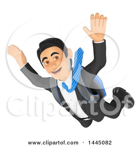 Clipart of a 3d Business Man Free Falling While Skydiving, on a White Background - Royalty Free Illustration by Texelart