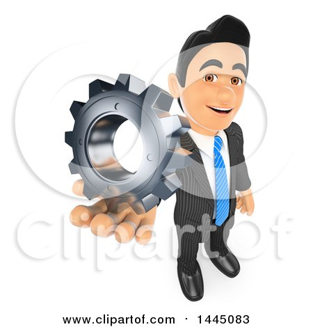 Clipart of a 3d Business Man Holding up a Gear Cog Wheel, on a White Background - Royalty Free Illustration by Texelart
