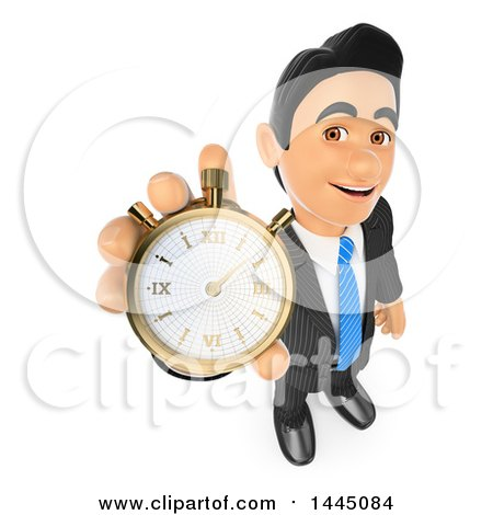 Clipart of a 3d Business Man Holding up a Stop Watch, on a White Background - Royalty Free Illustration by Texelart