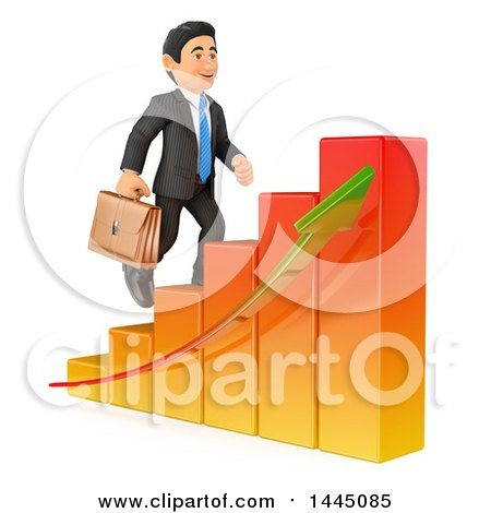 Clipart of a 3d Business Man Climbing up a Bar Graph, on a White Background - Royalty Free Illustration by Texelart