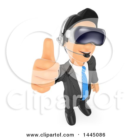 Clipart of a 3d Business Man Giving a Thumb up and Wearing Virtual Reality Glasses, on a White Background - Royalty Free Illustration by Texelart