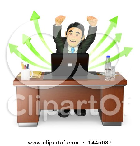Clipart of a 3d Business Man Cheering in Front of a Laptop Computer with Success Arrows, on a White Background - Royalty Free Illustration by Texelart