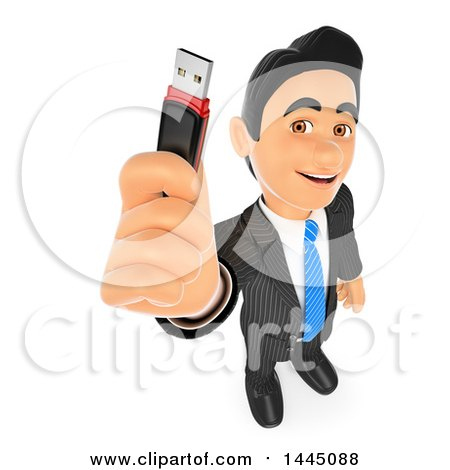 Clipart of a 3d Business Man Holding up a Usb Flash Drive, on a White Background - Royalty Free Illustration by Texelart