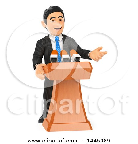 Clipart of a 3d Business Man or Politician Giving a Speech, on a White Background - Royalty Free Illustration by Texelart