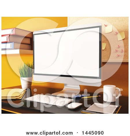 Clipart of a 3d Desktop Computer in an Office - Royalty Free Illustration by Texelart