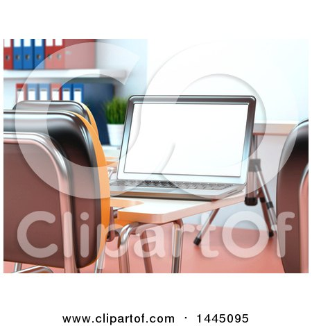 Clipart of a 3d Laptop Computer on a Desk in a Class Room or Training Center - Royalty Free Illustration by Texelart