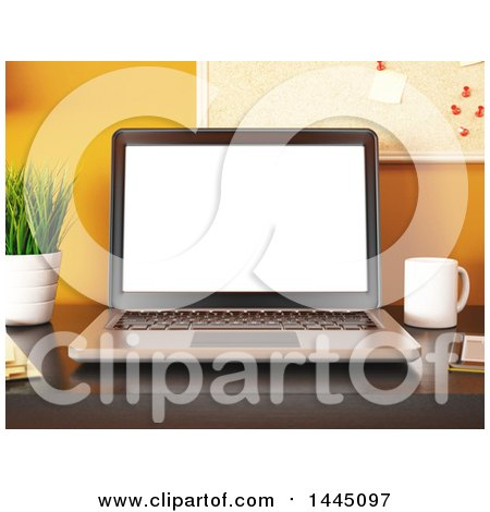 Clipart of a 3d Christmas Laptop Computer on an Office Desk - Royalty Free Illustration by Texelart