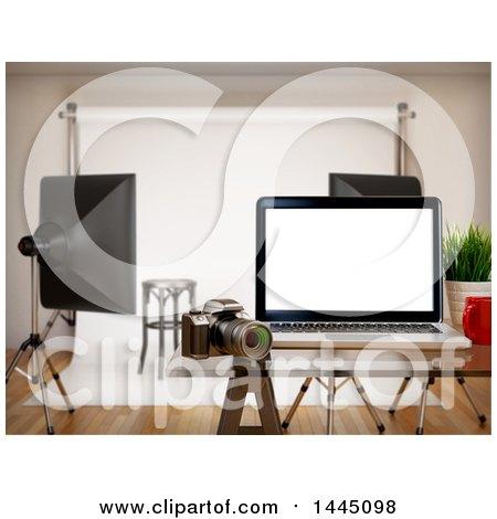 Clipart of a 3d Laptop Computer in a Photography Studio - Royalty Free Illustration by Texelart