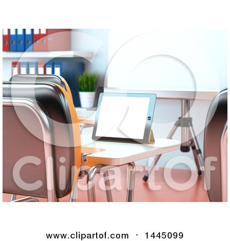 Clipart of a 3d Tablet Computer on a Desk in a Class Room or Training Center - Royalty Free Illustration by Texelart
