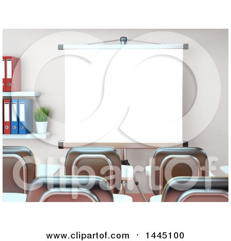 Clipart of a 3d Class Room or Training Center Interior with a Projector Screen - Royalty Free Illustration by Texelart