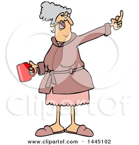 Cartoon Angry Senior Caucasian Woman in Her Robe, Holding Coffee and Flipping the Bird Posters, Art Prints