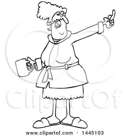 Clipart of a Cartoon Black and White Lineart Angry Senior Woman in Her Robe, Holding Coffee and Flipping the Bird - Royalty Free Vector Illustration by djart