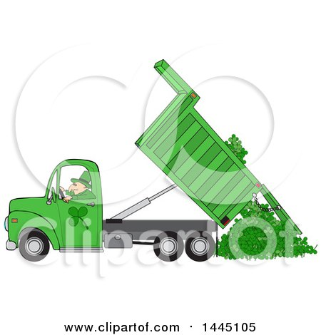 Clipart of a Cartoon Leprechaun Operating a Green Hydraulic Dump Truck and Dumping Clovers - Royalty Free Vector Illustration by djart