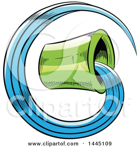 Clipart of a Sketched Green Astrology Zodiac Aquarius Bucket and Water - Royalty Free Vector Illustration by cidepix