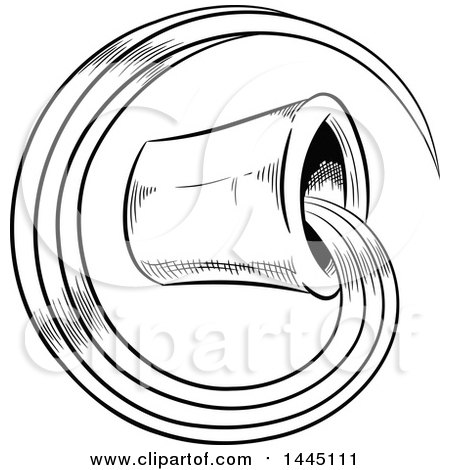 Clipart of a Sketched Black and White Astrology Zodiac Aquarius Bucket and Water with White Fill - Royalty Free Vector Illustration by cidepix