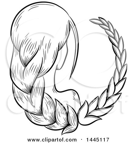 Clipart of a Sketched Black and White Astrology Zodiac Virgo Woman with Braided Hair and a White Fill - Royalty Free Vector Illustration by cidepix