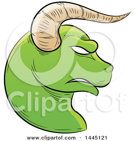 Clipart of a Sketched Green Astrology Zodiac Taurus Bull Head in Profile - Royalty Free Vector Illustration by cidepix