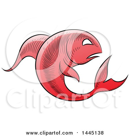Clipart of a Sketched Red Astrology Zodiac Pisces Fish - Royalty Free Vector Illustration by cidepix