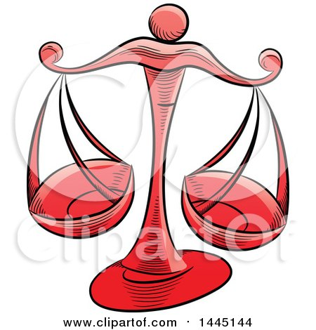 Clipart of Sketched Red Astrology Zodiac Libra Scales - Royalty Free Vector Illustration by cidepix