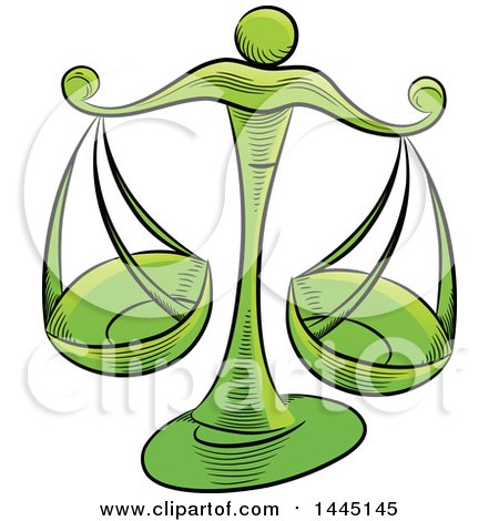 Clipart of Sketched Green Astrology Zodiac Libra Scales - Royalty Free Vector Illustration by cidepix