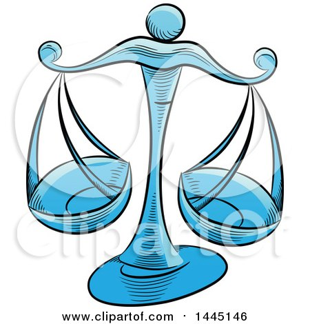Clipart of Sketched Blue Astrology Zodiac Libra Scales - Royalty Free Vector Illustration by cidepix