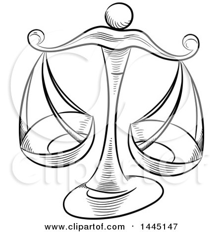 Clipart Of Sketched Black And White Astrology Zodiac Libra