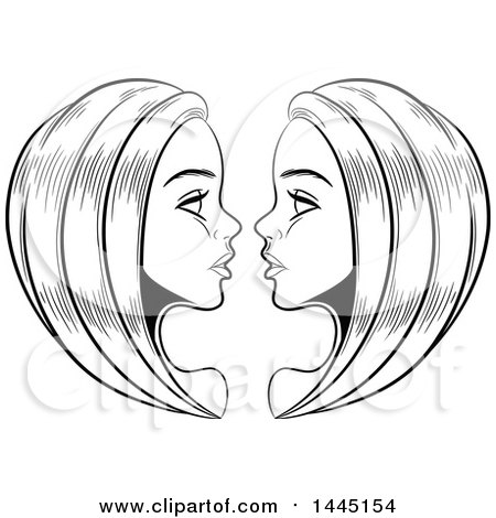 Clipart of Sketched Black and White Astrology Zodiac ...