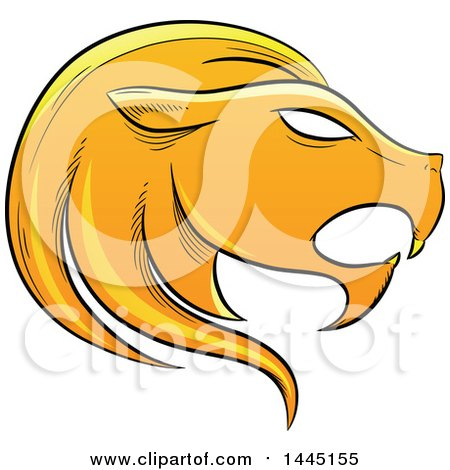 Clipart of a Sketched Golden Yellow Astrology Zodiac Leo Lion Head in Profile - Royalty Free Vector Illustration by cidepix