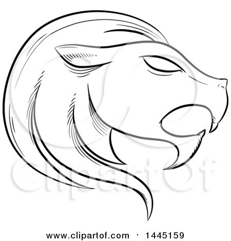 Clipart of a Sketched Black and White Astrology Zodiac Leo Lion Head in Profile with White Fill - Royalty Free Vector Illustration by cidepix