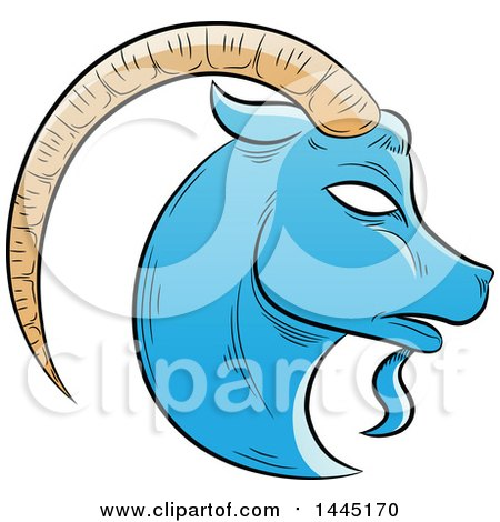 Clipart of a Sketched Blue Astrology Zodiac Capricorn Goat Head in Profile - Royalty Free Vector Illustration by cidepix