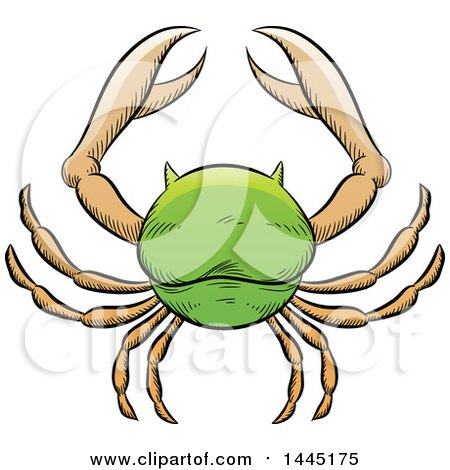 Clipart of a Sketched Green Astrology Zodiac Cancer Crab - Royalty Free Vector Illustration by cidepix
