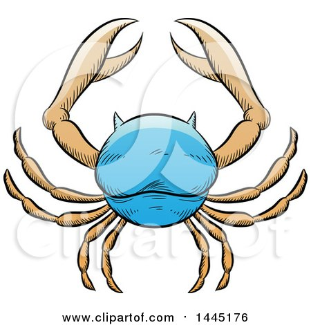 Clipart of a Sketched Blue Astrology Zodiac Cancer Crab - Royalty Free Vector Illustration by cidepix