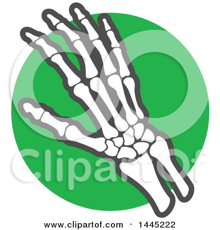 Clipart of a Human Hand Joint over a Green Circle - Royalty Free Vector Illustration by Vector Tradition SM